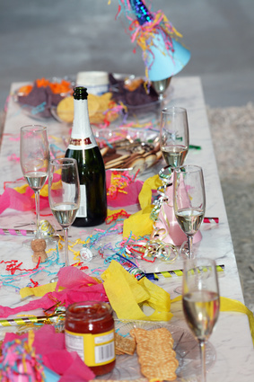 Detail view of a messy table after a big party